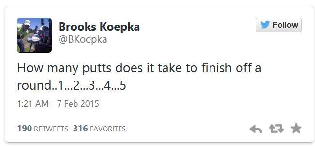 Tweet von Brooks Koepka zum 5-Putt